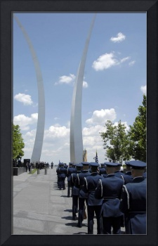 United States Honor Guards stand in formation at t