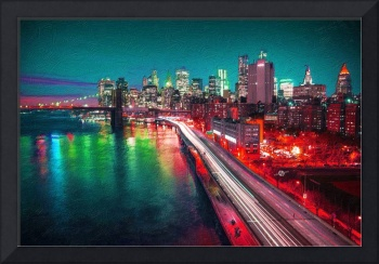 New York City Lights Red