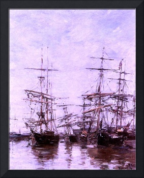The Port 1886 by Eugene Boudin Restored and Enhanc