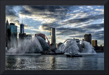 Fireboats seen along the East River of NYC