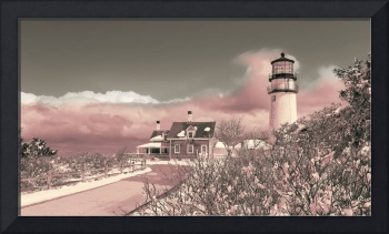 Naive Art Photography - Pink Truro Lighthouse In W