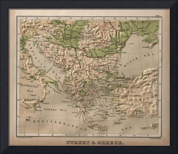 Vintage Physical Map of Greece (1880)