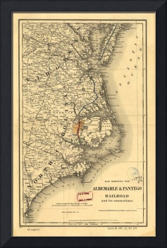 Vintage Map of The North Carolina Coast (1887)