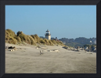 Lighthouse art prints Sandy Beach Driftwood Bandon