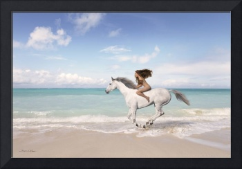 Nude Woman Riding Horse at the Beach