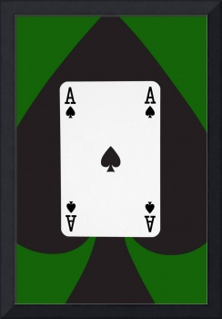 Playing Cards Ace of Spades on Green Background