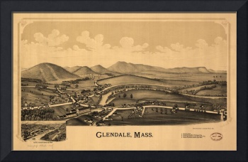1890 Glendale, MA Birds Eye View Panoramic Map