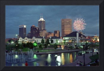 Indianapolis at Dusk with Fireworks