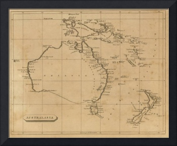 Vintage Map of Australia & New Zealand (1812)
