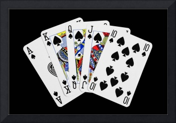 Playing Cards Royal Flush on Black Background