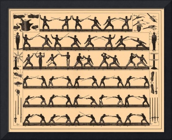 Vintage Fencing Swordsmanship Diagram (1907)
