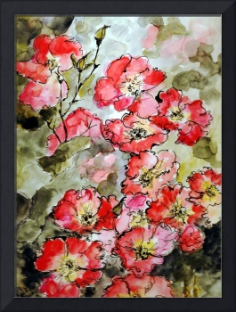 Pink Roses Botanical Watercolor