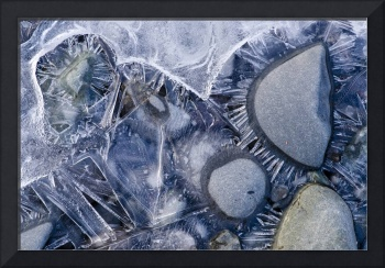 Close Up Of Small Rocks Frozen In Ice, Southcentra