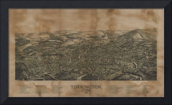 1889 Torrington, CT Bird's Eye View Panoramic Map