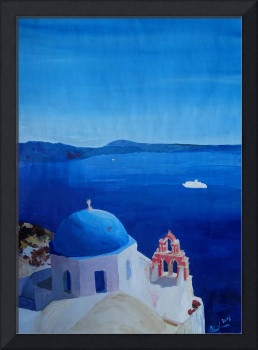 Santorini, Greece - View from Oia Vintage Poster