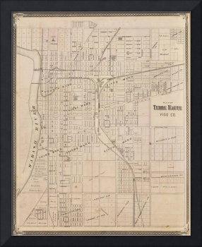 Vintage Map of Terre Haute Indiana (1876)