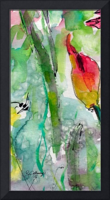 Abstract Floral Blossom Bud Watercolor