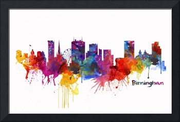 Birmingham Watercolor Skyline