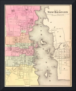 Vintage Map of New Bedford MA (1871)