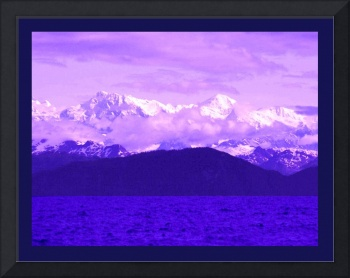 Alaskan Mtns Near Valdez Arm Enhanced with indigo