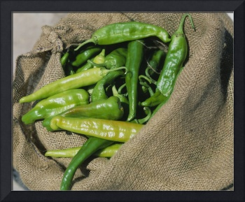 Close-up of green chilli peppers
