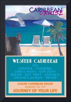 Western Caribbean Cruise Retro Travel Poster II