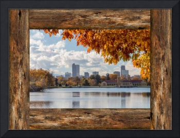 Denver City Skyline Barn Window View
