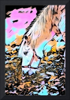 Grazing Horse Pop Art Comic