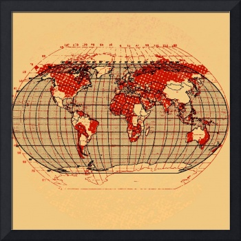 world map retro vintage