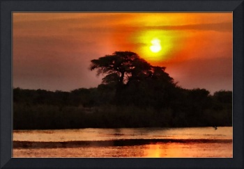 Africa Sunset Landscape Art