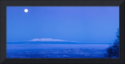 Scenic View Of The Full Moon Over Mt. Susitna, Anc