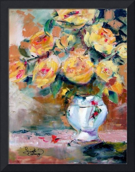 Yellow Roses Oil Painting by Ginette