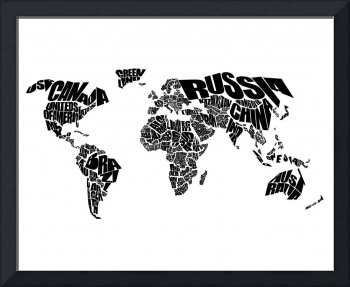 World Text Map - Black on White