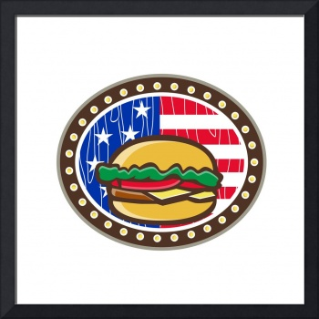 American Cheeseburger USA Flag Oval Cartoon