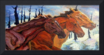 Three Horses In Winter