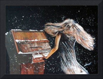 Lady Playing Piano Under Snow
