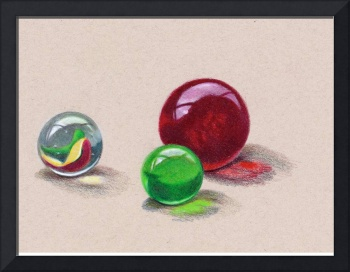 Three Glass Marbles in Color Pencil