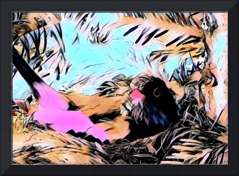 Bird in Nest Pop Art Comic