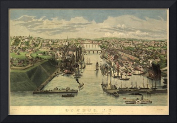 Vintage Pictorial Map of Oswego NY (1855)