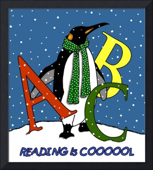 Penguin in Snow with Letters: Reading is COOL