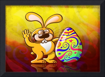 Easter Bunny Proud of his Big Decorated Egg
