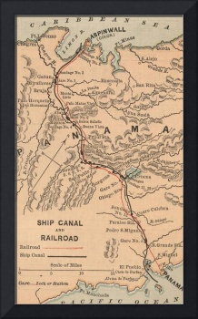 Vintage Map of The Panama Canal (1885)