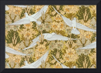 Vintage Art Deco Doves and Flowers