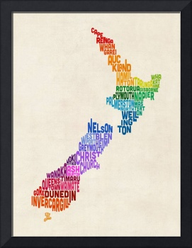 New Zealand Typography Text Map