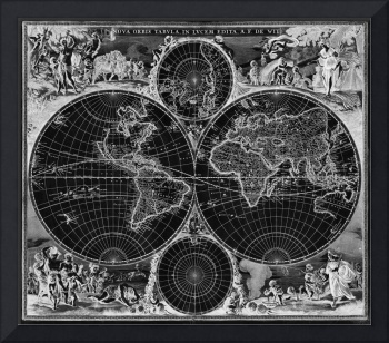 Black and White World Map (1670) Inverse