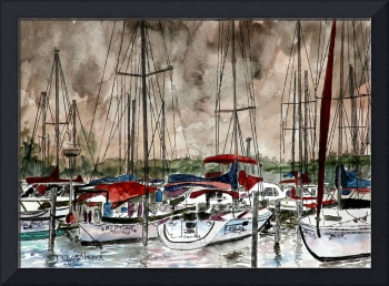 sail boats sailing boating art print