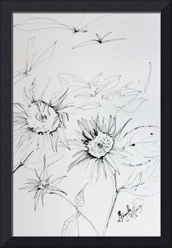 Expressive Sunflowers Black Ink on Watercolor Pape