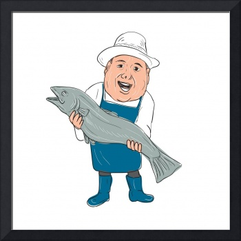 Fishmonger Presenting Fish Cartoon
