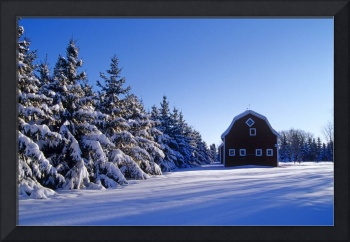 Red Barn In Winter, Near Oakbank, Manitoba, Canada