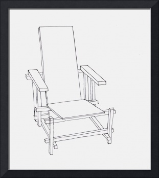 Red and Blue Chair Line Drawing